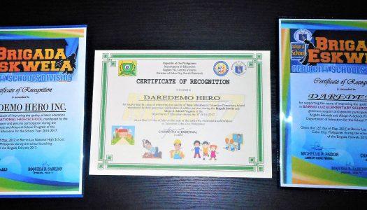 BRIGADA ESKWELA‐DAREDEMO HEROが表彰されました!‐
